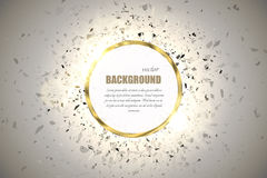 Vector ring background. Metal chrome shine round frame with spark light effect and big explosion. Royalty Free Stock Images