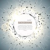 Vector ring background. Metal chrome shine round frame with spark light effect and big explosion. Royalty Free Stock Photography