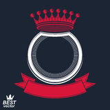 Vector ring with 3d imperial crown and festive ribbon, luxury bl. Azon. Heraldic graphic symbol. Monarch theme clear eps8 element Royalty Free Stock Photography