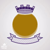 Vector ring with 3d imperial crown and festive ribbon, luxury co Stock Photography