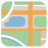 Vector ringsum Ikone des sauberen Stadtplans mit Straßen, grüne Zone, rive Lizenzfreie Stockbilder