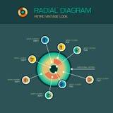 Vector ringsum Radialdiagramm mit den infographic Strahlnzeigern Lizenzfreies Stockfoto
