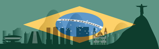 Vector Rio de Janeiro skyline Royalty Free Stock Photography