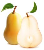 Ripe pears with green leaves Royalty Free Stock Photo
