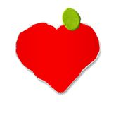 Vector ripped heart. Handmade red heart attached by plasticine Royalty Free Stock Photography
