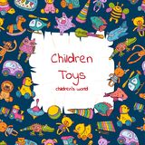 Vector ripped paper with place for text surrounded by sketched colored children toys illustration stock illustration