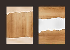 Vector ripped paper on texture of wood background. Ripped paper on texture of wood background, Business brochure flyer design layout template in A4, Vector Stock Photography