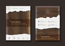 Vector ripped paper on texture of wood background. Ripped paper on texture of wood background, Business brochure flyer design layout template in A4 size, Vector Stock Photo