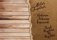 Vector ripped paper on texture of wood background. Ripped paper on texture of wood background with positive quotes, Vector illustration in A4 size design  Image Royalty Free Stock Photo