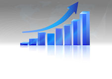 Vector  of  rising  bar chart with arrow above. 3d vector  of  rising  bar chart with arrow above Royalty Free Stock Photo