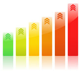 Vector Rising Bar Graph. Rising Bar Graph with Arrows Royalty Free Stock Photography