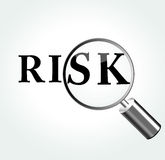 Vector risk theme illustration. Vector illustration of risk concept with magnifying Stock Photo