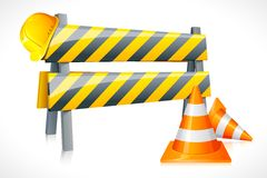 Vector Road Barrier with Cone and Hardhat Royalty Free Stock Images