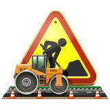 Vector Road Construction Concept with Compactor stock illustration