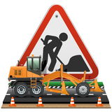 Vector Road Construction Concept with Sign Royalty Free Stock Photo