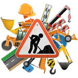 Vector Road Construction Concept with Sign Stock Photos