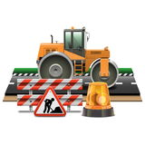 Vector Road Construction with Road Roller Royalty Free Stock Photography