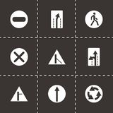 Vector road element icon set. On black background Stock Images