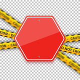 Vector Road Red Stop Sign with Yellow Police Strip. Realistic Ve Stock Photo