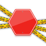 Vector Road Red Stop Sign with Yellow Police Strip. Realistic Ve Royalty Free Stock Photos