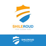 Vector road and shield logo concept royalty free illustration