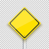 Vector Road Sign. Realistic Vector EPS10 Yellow Isolated Road Si Royalty Free Stock Photos