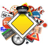 Vector Road Signs with Car Parts Royalty Free Stock Photos