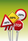 Vector road signs with discounts stock illustration