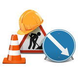 Vector Road Signs with Helmet and Cone Stock Photo