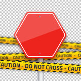 Vector Road Stop Sign with Yellow Police Strip. Realistic Vector Stock Images