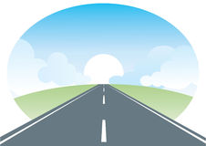 Vector road and sun.Landscape Stock Images
