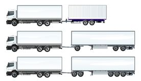Vector road trains set template isolated on white Royalty Free Stock Photo