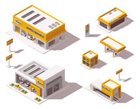 Vector road transport related buildings. Set of the isometric road transport related buildings Stock Photo