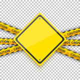Vector Road Yellow Sign with Yellow Police Strip. Realistic Vect Royalty Free Stock Images