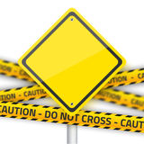 Vector Road Yellow Sign with Yellow Police Strip. Realistic Vect Stock Photography