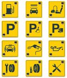Vector roadside services signs icon set. Part 1 Stock Image