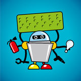 Vector robot assistant. Identity corporate logo Isolated on blue background Stock Photography