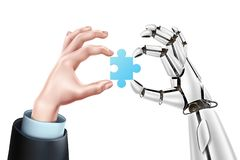 Vector robot business man hands with puzzle royalty free illustration