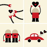 Vector robot with heart card Royalty Free Stock Images