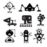 Vector robot silhouettes - Illustration. Black standards with the different types of the detailed robots Stock Images