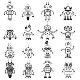 Vector robot silhouettes set. Robot icons, mono vector symbols. Flat design style robots and cyborgs. Science fiction androids with artificial intelligence Stock Image