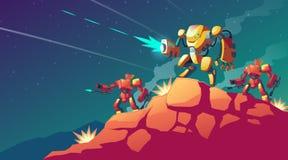 Vector robot war on alien planet, Mars. Vector cartoon illustration with robot war on alien planet, Mars. Landscape with combat robots. Battle androids stock illustration