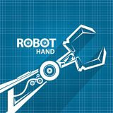 Vector robotic arm symbol on blueprint paper background. robot hand. technology background design. Template royalty free illustration