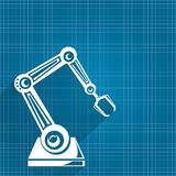 Vector robotic arm symbol on blueprint paper background. robot hand. technology background design. Template Stock Photo
