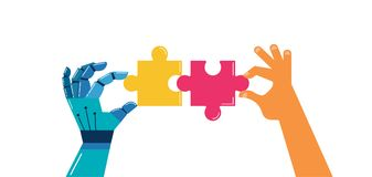 Robotic and human hands with puzzle, background and banner Royalty Free Stock Photo