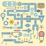 Vector robotic machinery parts flat icons set manufacturing work detail design. Gear mechanical equipment part industry Royalty Free Stock Photo