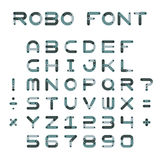 Vector robotic or mechanic font in flat style Royalty Free Stock Image