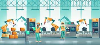 Vector robotizado de la historieta del transportador de la fábrica moderna