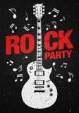 Vector rock festival flyer design template with guitar Stock Photo