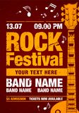 Vector rock festival flyer design template with guitar, notes and cool orange grunge effects. Template for poster, fyler and invitation cards with oragmai banner Royalty Free Stock Photography